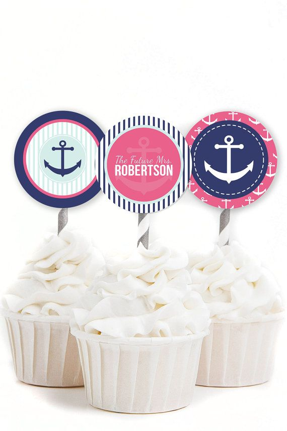 custom bridal shower cupcake toppers nautical bridal shower nautical shower decor navy and pink bridal shower printable toppers 26