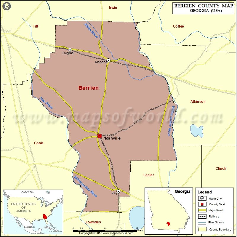 Map Of Berrien County In Georgia USA County Map Pinterest - Map 0f georgia
