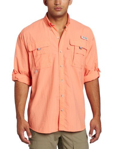 Columbia Men's Bahama II Long Sleeve Shirt, Bright Peach, Medium ...