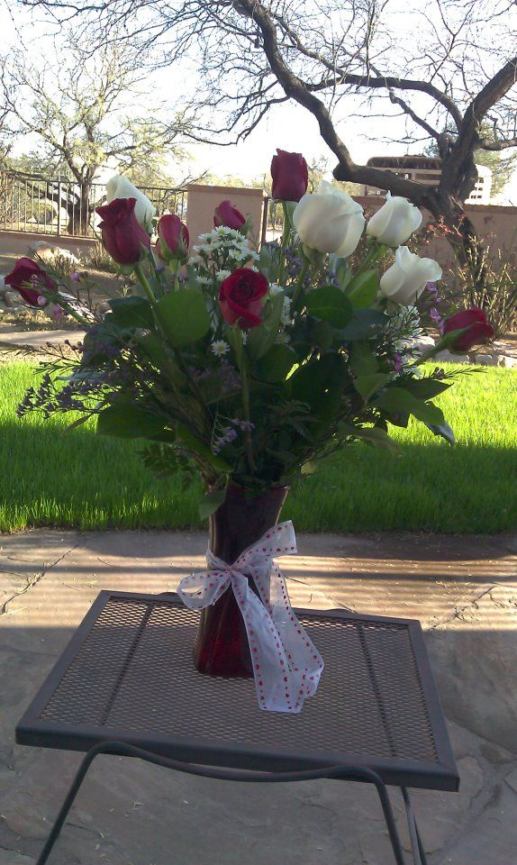 The flowers from my Baby he gave me for Valentines Day.. He delivered too..