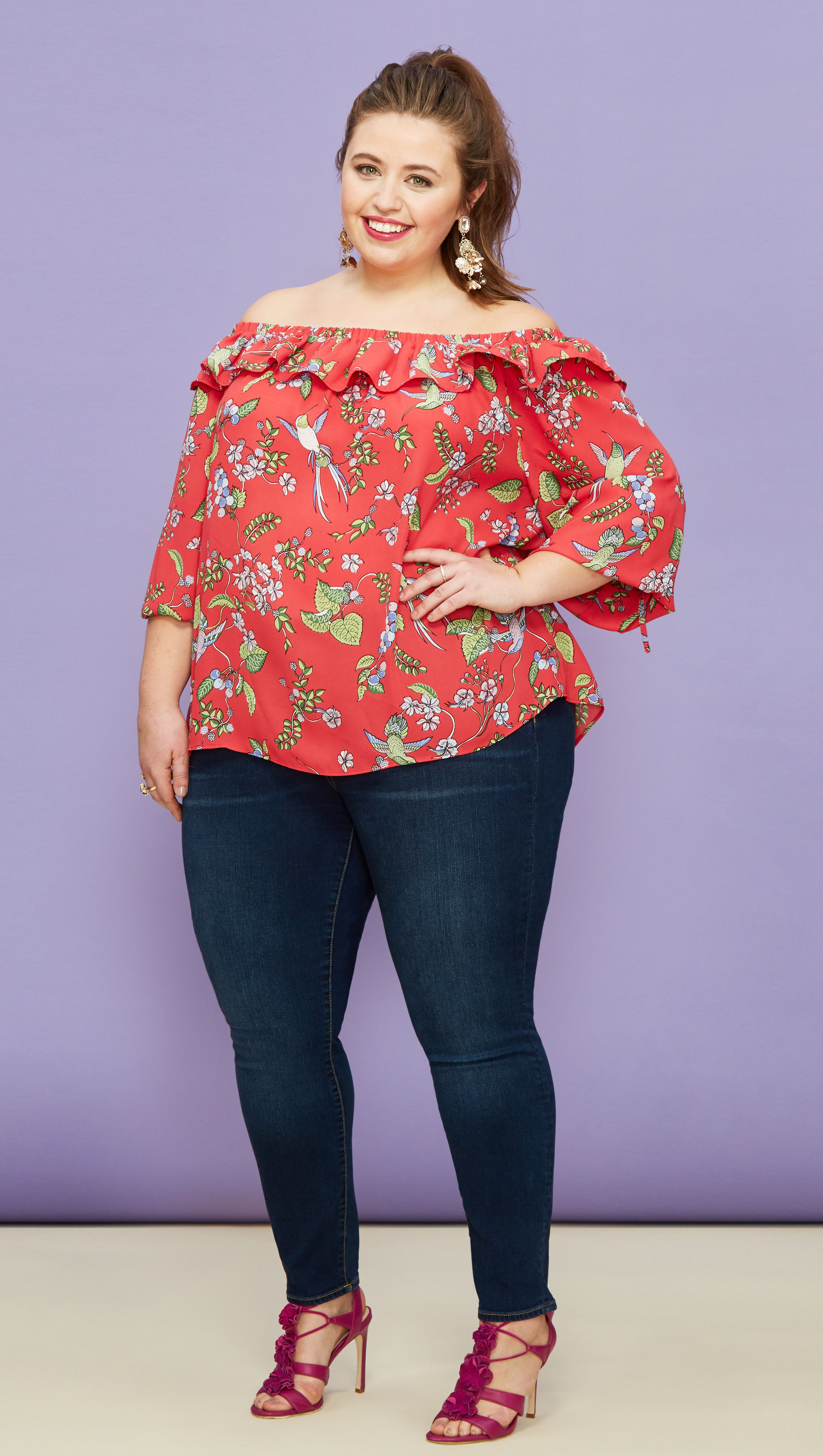 0917bd839eace Plus Size Fashion  Dark wash denim is the perfect base piece to pair with a  ruffled floral blouse and bright shoe!