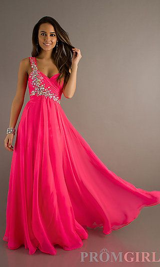 One Shoulder Dress with Sweetheart Neckline at PromGirl.com