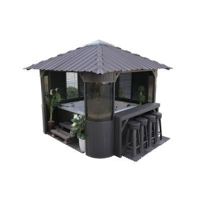 Canadian Spa Company Fraser 10 ft. Synthetic Charcoal Gazebo ...