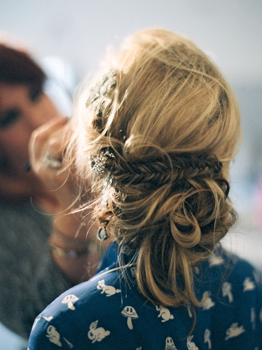 Boho glam summer wedding at ojai valley inn updo hair makeup and