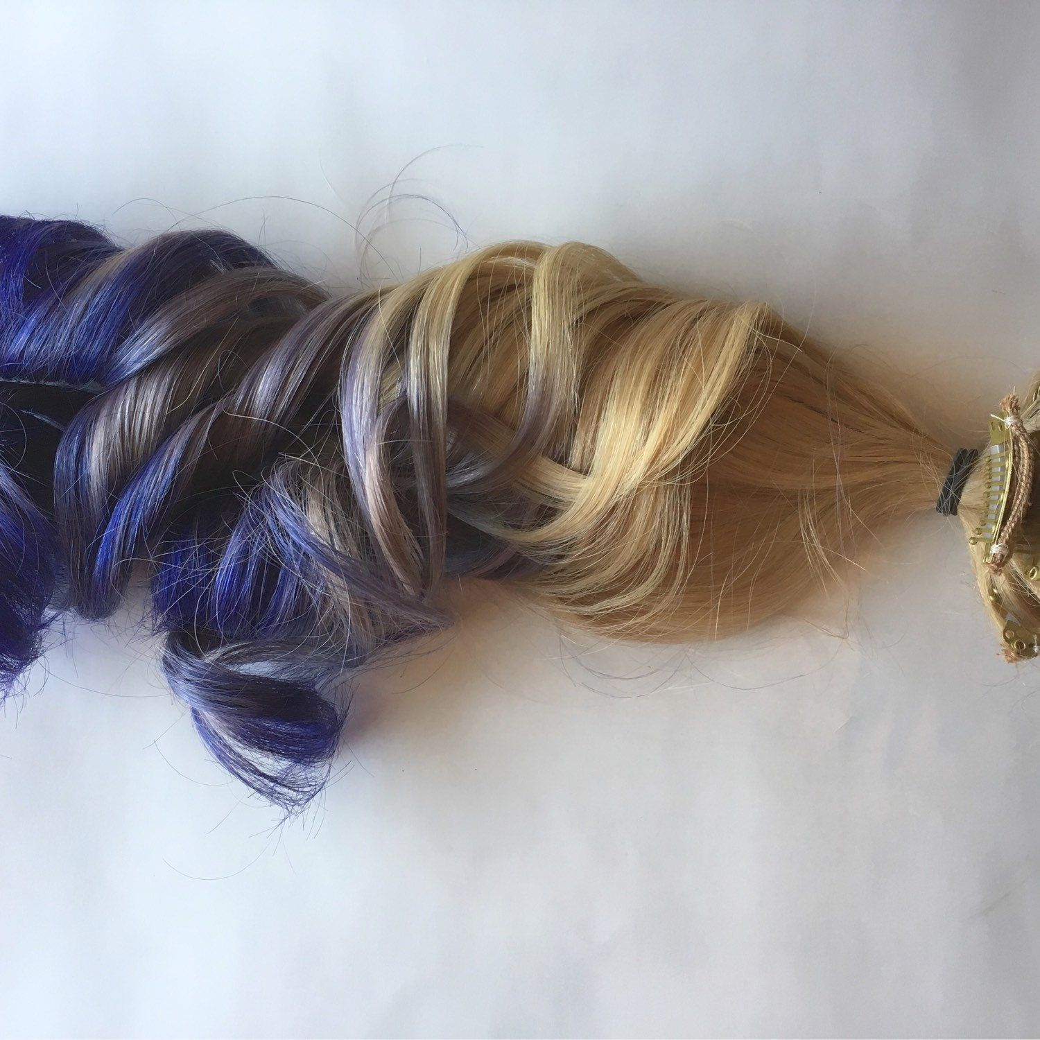 Blonde And Purple Ombr Clip In Human Hair Extensions Clip In Hair