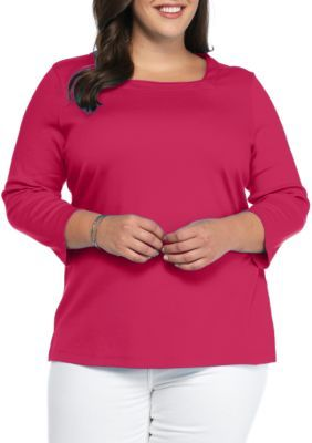 Kim Rogers  Plus Size Three-Quarter Sleeve Square Neck Top