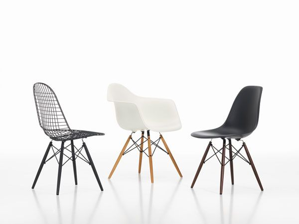 Left to right wire chair; eames plastic armchair; eames plastic