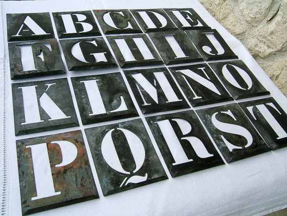 Large Zinc Letters Vintage French Alphabet Stencil Large Zinc Letterlabelleville