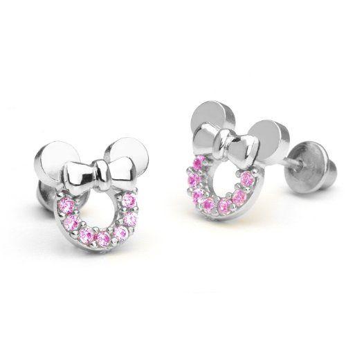 925 Sterling Silver Clear CZ Small Heart Baby Girls Screw Back Earrings