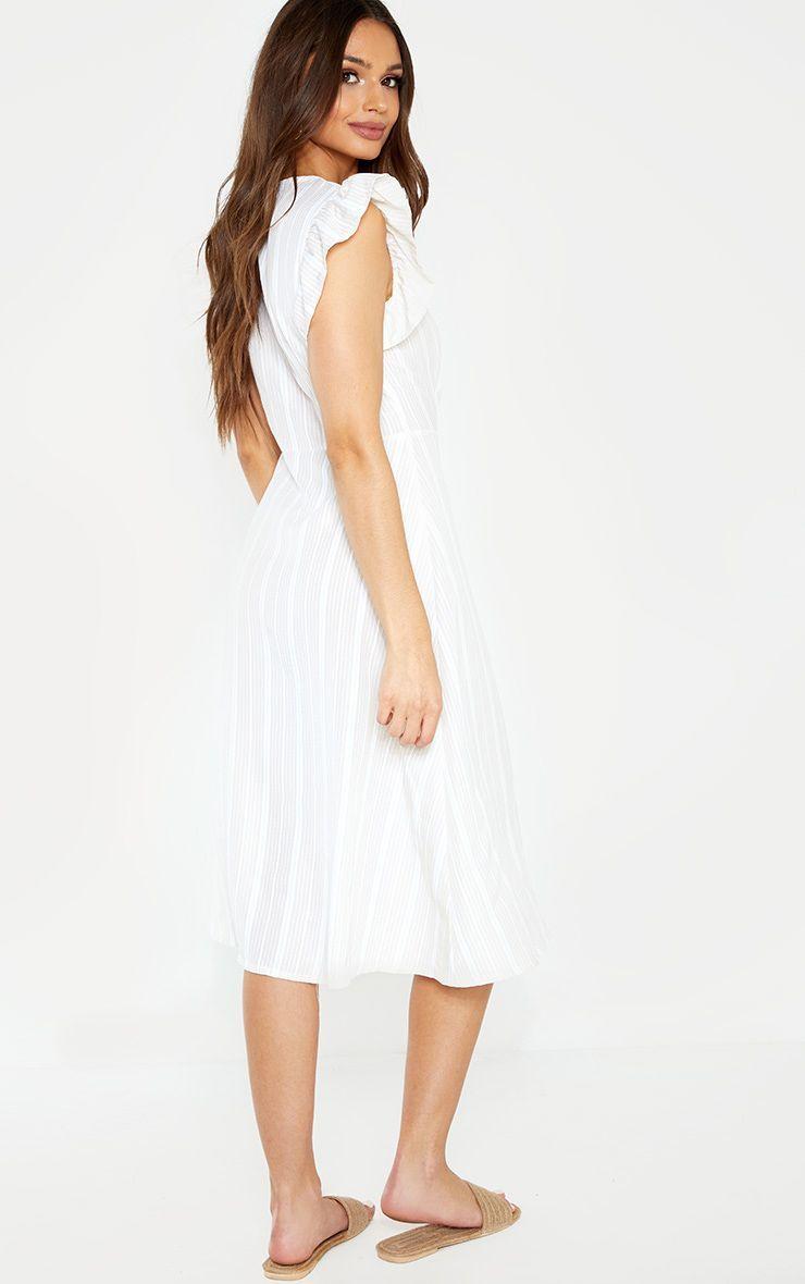 e80d0d537636 White Stripe Frill Shoulder Button Front Stripe Midi Dress in 2019 ...