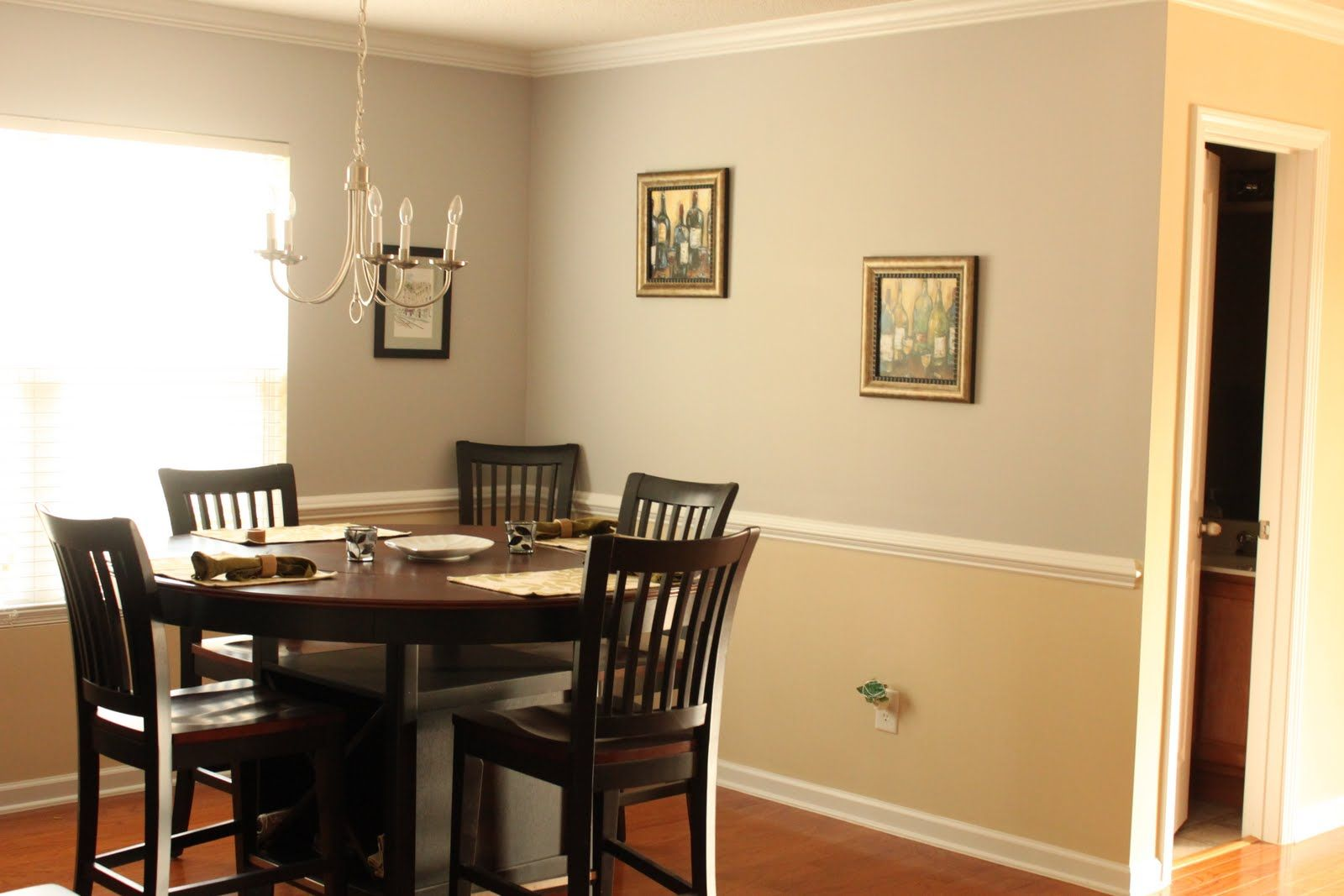 Gray and beige scheme best color to paint a interior room for Best shaped table for small dining room