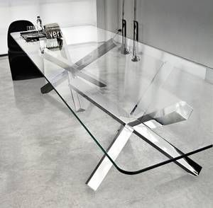 Sovet Aikido Two Bases Glass Dining Table Contemporary Dining