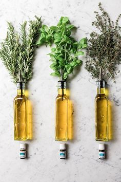 DIY Rosemary, Basil & Thyme Essential Oil Infused Olive Oil #oliveoils