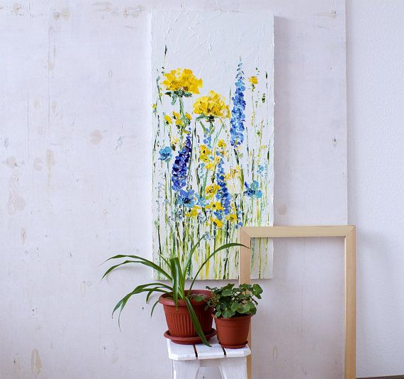 Palettenmesser Kunst pastosen weiß Ölgemälde Blumen Lupin Astern - wohnzimmer grun gelb