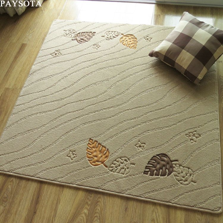 Paysota Living Room Square Carpet Door Mat Computer Chair Yoga Bamboo Leaves Rug