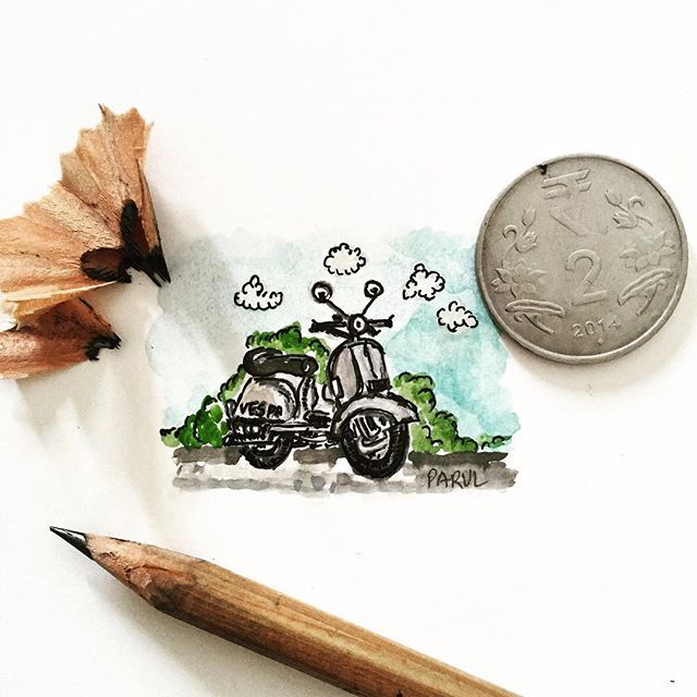 """Inspired by Lorraine Loots #sketch #sketchbook #scooter #art #artsy #artist #mumbai #watercolours #paint #painting #miniature #illustration @rubberband_kit"" Photo taken by @sharmaparul_ on Instagram, pinned via the InstaPin iOS App! http://www.instapinapp.com (07/20/2015)"