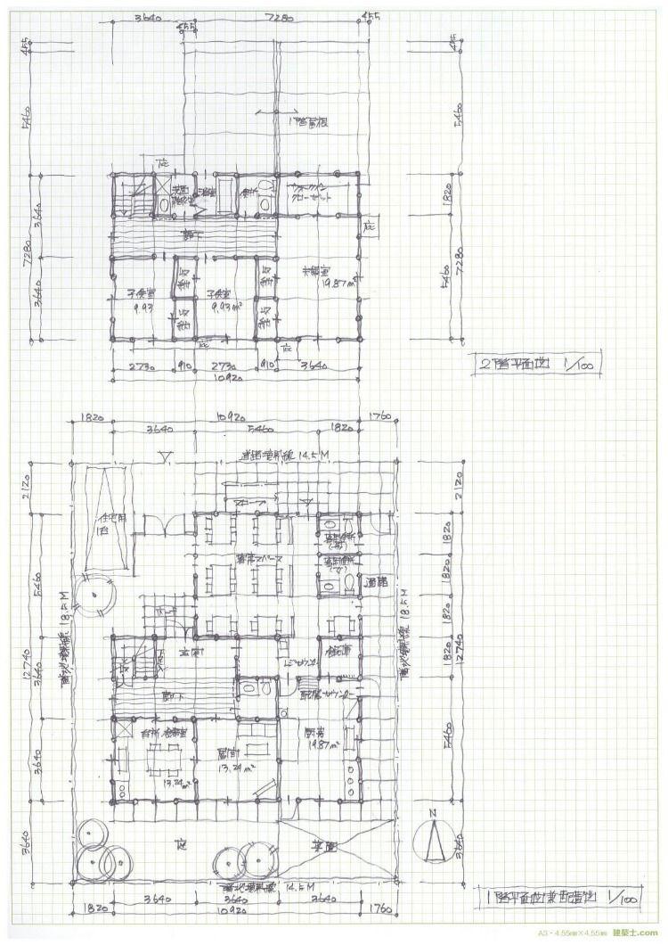 練習課題no 7 吹抜けのある居間をもつ専用住宅 木造2階建 この