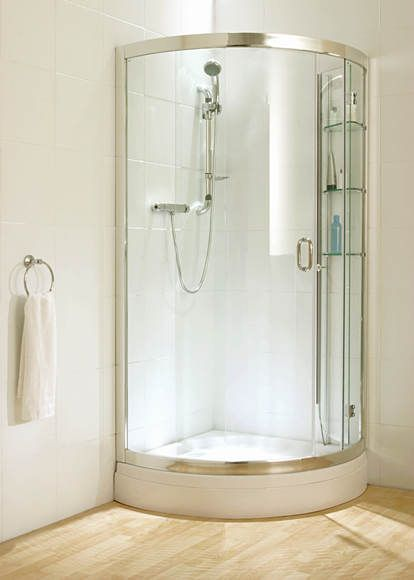 Corner Shower Units Grey Flooring Bathroom Remodeling Bath Time White Walls