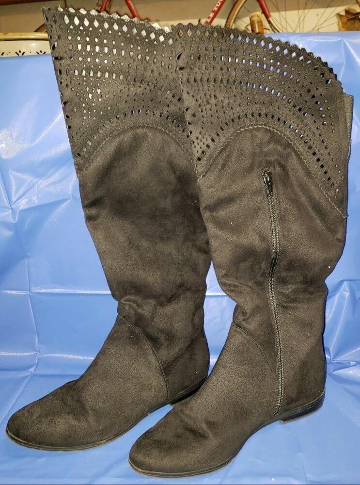 2b32a269f65 7M LIZ AND CO Womens Black Suede Knee High Boots Flats Side Zipper ...