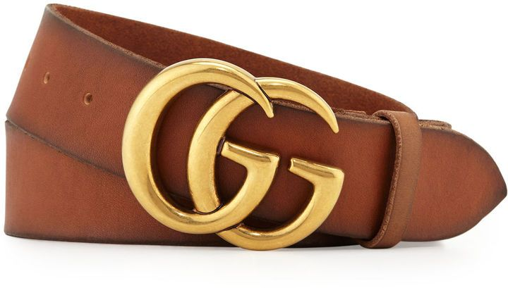 b6f6492f9d8 Gucci Men s Leather Belt with Double-G Buckle