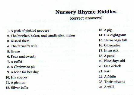 Nursery Rhyme Riddle Answers Baby Shower Ideas Baby Shower Games