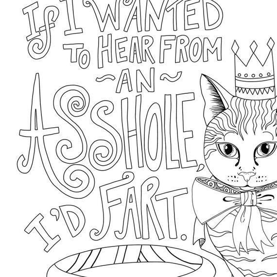 Asshole Cat Coloring Page, Funny Printable Gift, Instant Download, Adult Colouring Book Page, Swear Word, Kitty Quote, Animal Lover Humor is part of Cat coloring page - CarrieStephensArt1 • SOCIAL MEDIA  Insta @CarrieStephens   Pinterest @CarrieStephens  Twitter @CarrieDraws   Copyright 2018 ©Carrie Stephens   All Rights Reserved