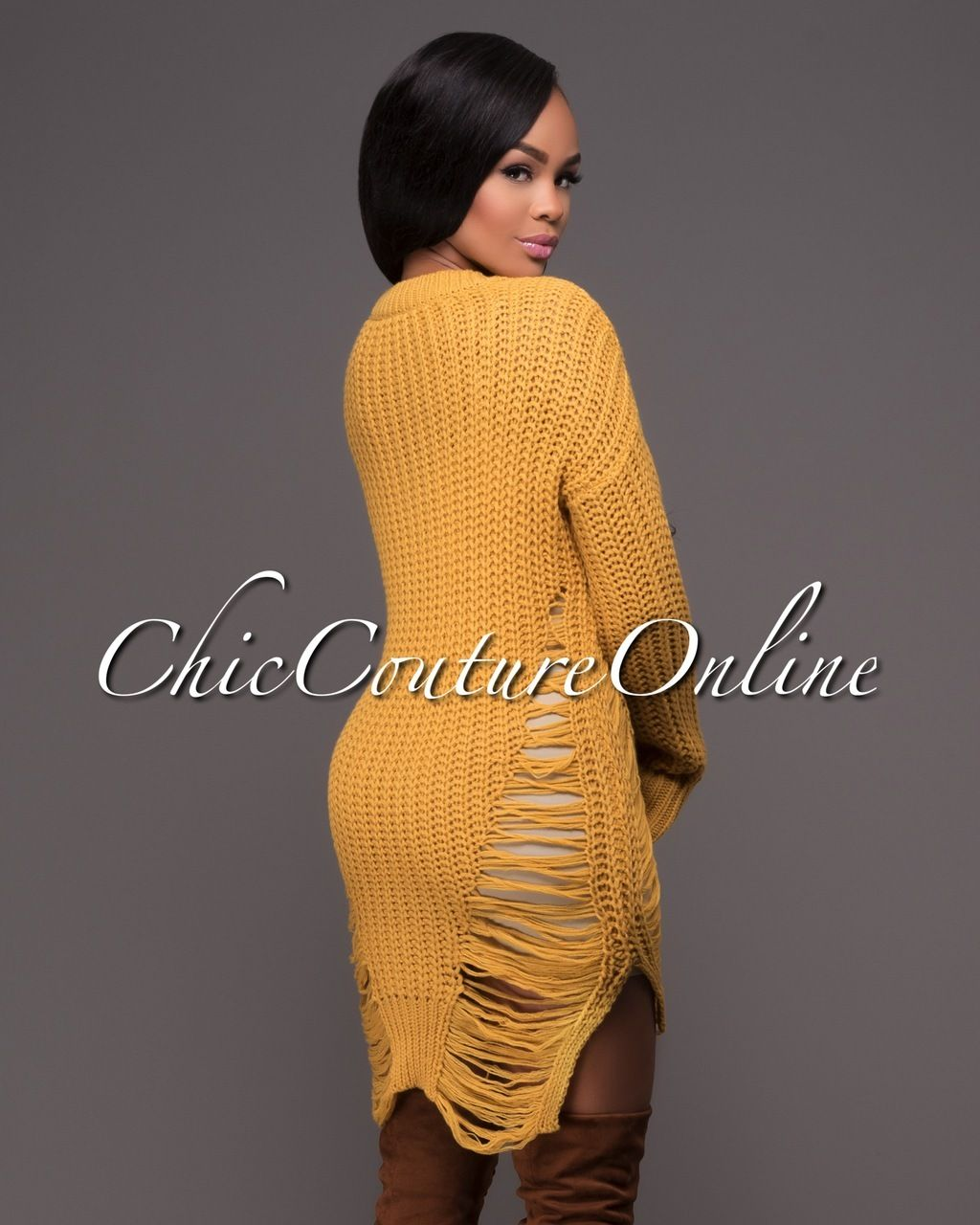 Chic Couture Online - Parisea Yellow Ribbed Shredded Long Sleeves ...