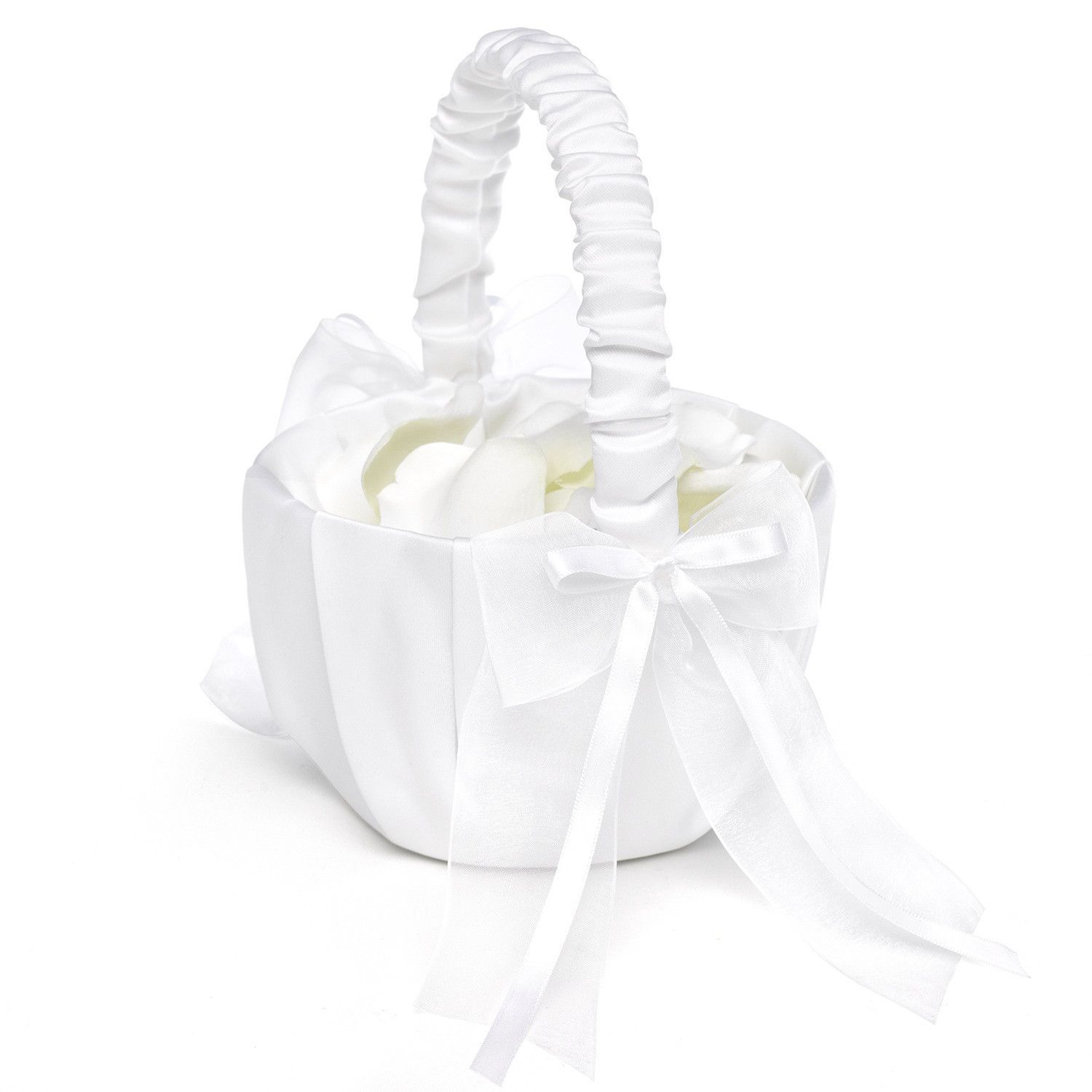 Sweet Flower Girl Basket Flower Girl Basket Satin Flowers And