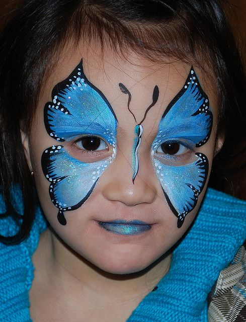 Blue Butterfly Face Painting Face Paint Butterfly Face Paint