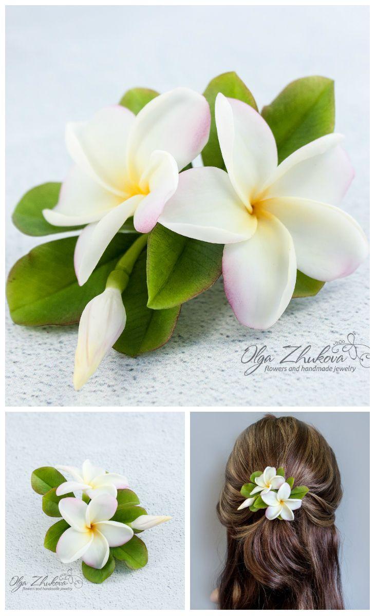 Hair Clip Plumeria Realistic Hawaiian Flower Bridal Hair Etsy In 2020 Flowers In Hair Polymer Clay Flowers Floral Accessories Hair