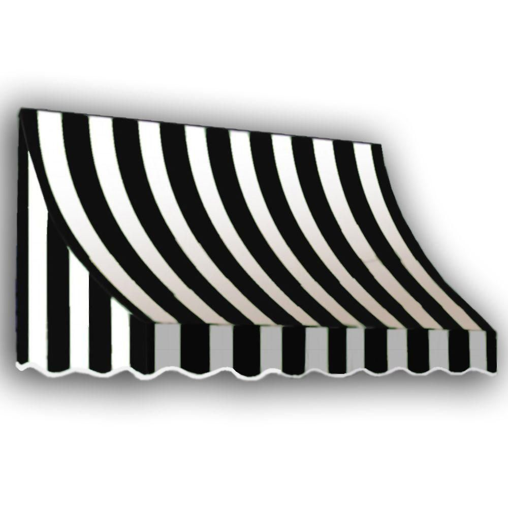 Awntech 10 38 Ft Wide Nantucket Window Entry Awning 56 In H X 48 In D In Black White Nn44 10kw The Hom Window Awnings Door Awnings Black White Stripes