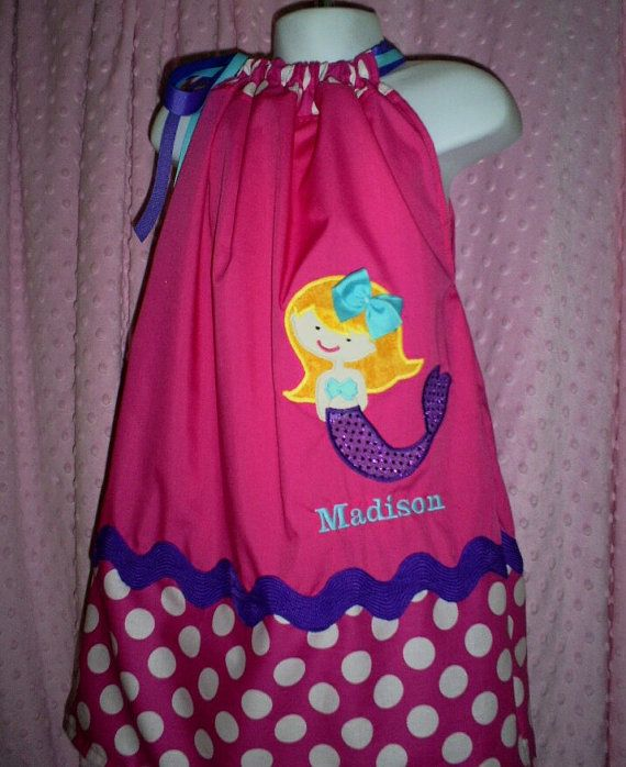 Pink MERMAID SPARKLES Dotted Pillowcase DRESS by WhimzicalExpressions