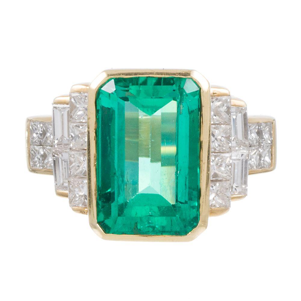 7.00 Carat Emerald and Diamond Ring