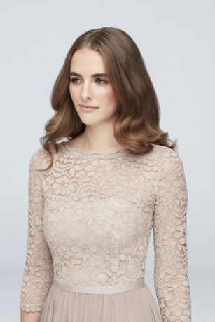 3331eb51144e 3/4-Sleeve Illusion Lace and Mesh Bridesmaid Dress   David's Bridal ...