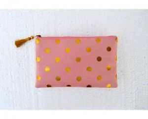 Faux suede, old rose colour pouch, gold polka...