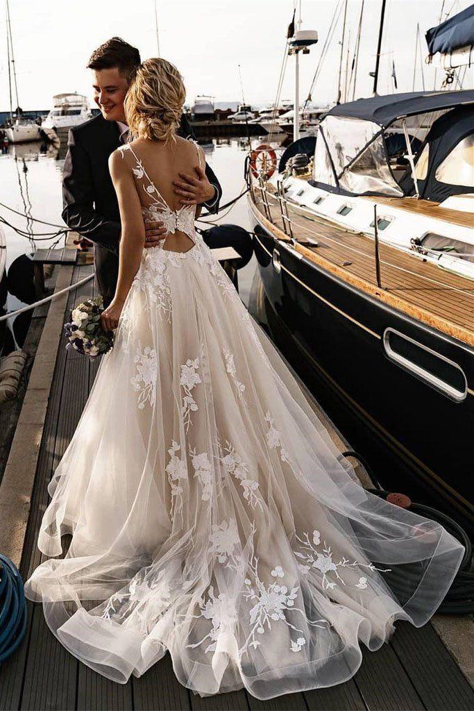 A Line Floral Appliques Beach Wedding Dresses Backless Tulle Boho Wedding Gowns PW947 #bohoweddingdress