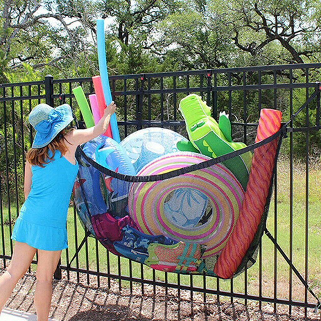 Adjustable Swimming Pool Hanging Pool Storage Bag Football Inflatable In 2020 Bag Storage Toy Net