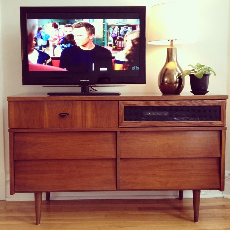 dresser to tv stand conversion make a vented area out of a drawer for electronic equipment. Black Bedroom Furniture Sets. Home Design Ideas