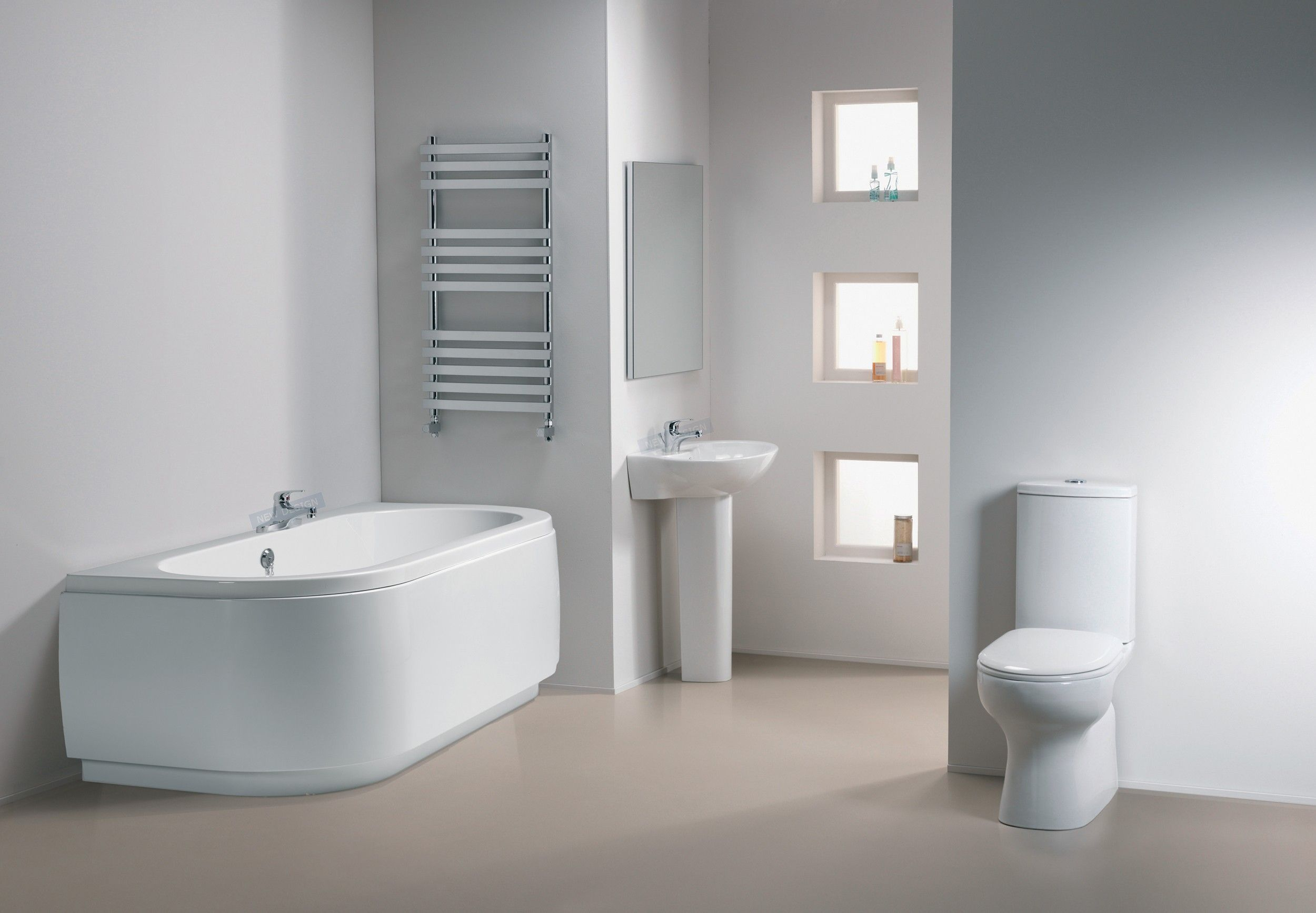 Contemporary White Henley Bathroom Suites Ideas Photo