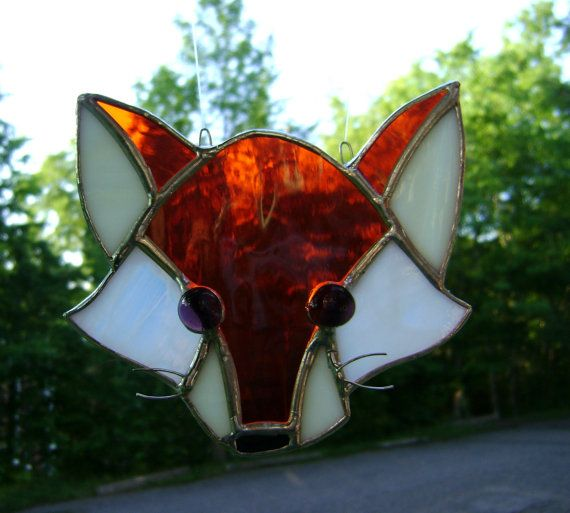 Fox Foxes Stained Glass Suncatcher Christmas by GothicGlassStudio