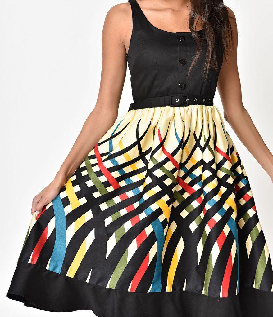 1da873b5b Voodoo Vixen Multi Color Striped Jean Flared Dress | Fashion & Clothes