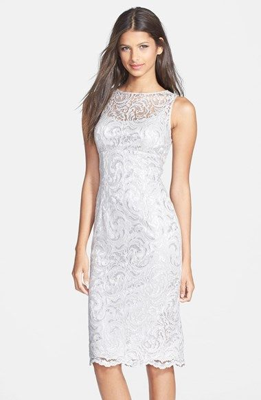 Free shipping and returns on Hailey by Adrianna Papell Metallic Lace Midi Dress at Nordstrom.com. Shimmery lace follows the linear silhouette of an illusion-yoke sheath.