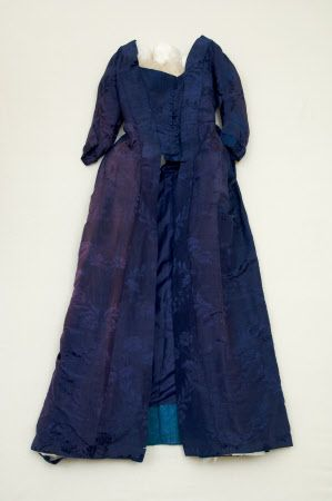 Gorgeous deep blue color. Open robe    National Trust Inventory Number 1348716  CategoryCostume  Date1750 - 1770  MaterialsDamask, Linen, Silk, Watered silk