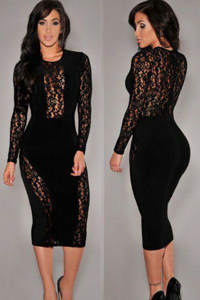 Black Lace Accent Party Midi Dress