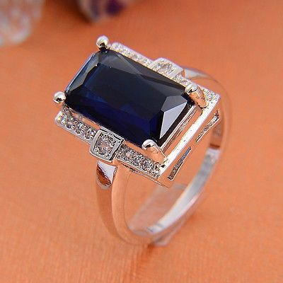 nice women fashion jewelry Sapphire CZ silver ring size 7 8 9 - For Sale View more at http://shipperscentral.com/wp/product/women-fashion-jewelry-sapphire-cz-silver-ring-size-7-8-9-for-sale/