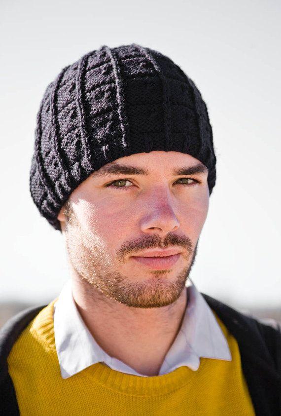 311cc11d0d5 Men s Hat Winter Wool Knit in Black JT Hat by Woolibear on Etsy