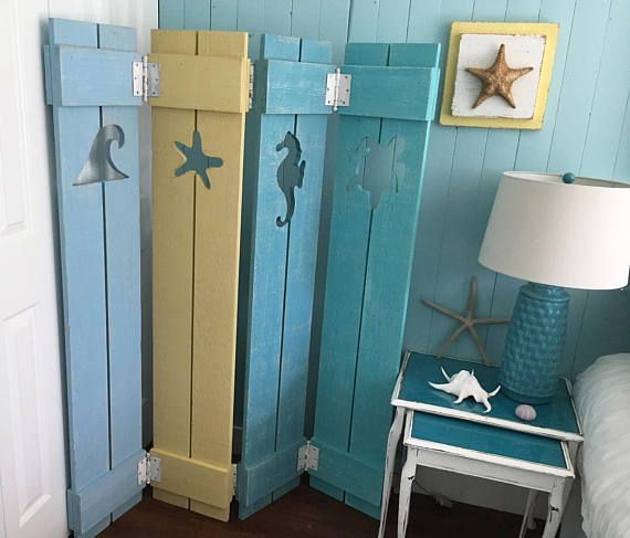 Shutter Screen Room Divider Painted Or Unpainted Beach Cottage Lake Country House By Castawayshall