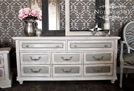 Silver/Distressed White Dresser