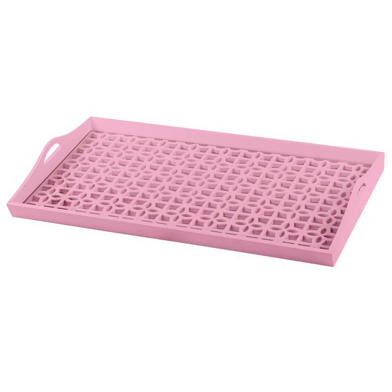 A and B Home Urban Vogue Decorative Tray - KIH39284-PINK