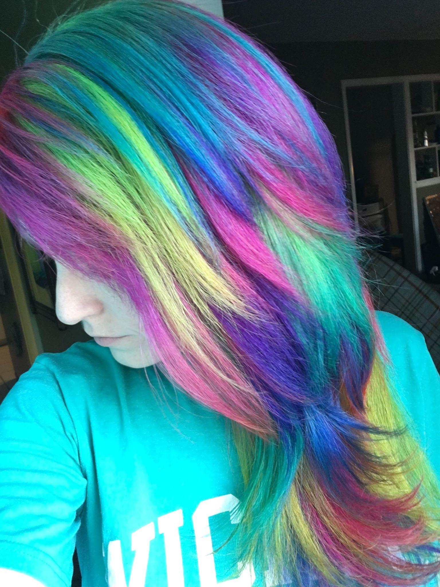 Feathery Rainbow Colored Hair